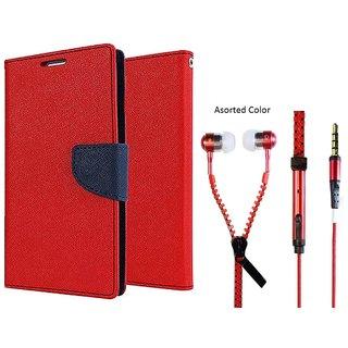Reliance Lyf Wind 1 Mercury Wallet Flip Cover Case (RED) With Zipper Earphone