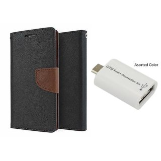 MICROMAX E311  Mercury Wallet Flip Cover Case (BROWN) With Otg Smart