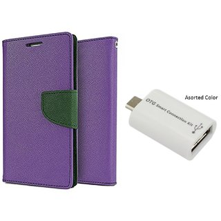Micromax Canvas Knight 2 E471 Mercury Wallet Flip Cover Case (PURPLE) With Otg Smart