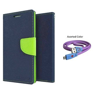 SAMSUNG Galaxy Young 2 G130 Mercury Wallet Flip Cover Case (BLUE) With Smiley usb data Cable