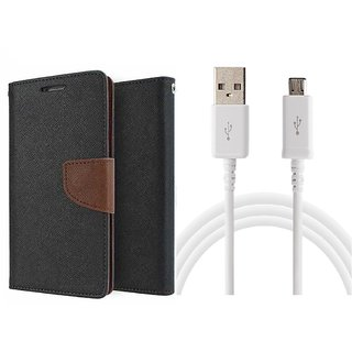 Micromax YU YUNIQUE Mercury Wallet Flip Cover Case (BROWN) With Usb data Cable
