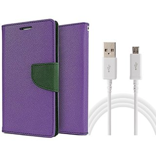 Samsung Galaxy Alpha G850F Mercury Wallet Flip Cover Case (PURPLE) With Usb data Cable