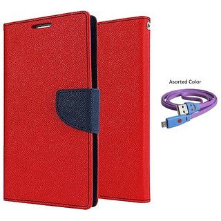 Samsung Galaxy A3 (2016) Mercury Wallet Flip Cover Case (RED) With Smiley usb data Cable
