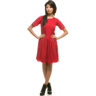 e69ea078a11 Buy Red Plain Fit   Flare Dress For Women Online - Get 44% Off