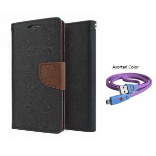 Micromax Canvas Blaze 4G Q400 Mercury Wallet Flip Cover Case (BROWN) With Smiley usb data Cable