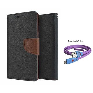 Reliance Lyf Water 7 Mercury Wallet Flip Cover Case (BROWN) With Smiley usb data Cable