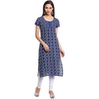 Rangeelo Rajasthan Printed Women's Long Straight Cotton Kurta(RR007BLUE)
