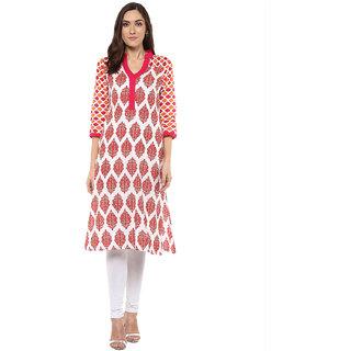 Rangeelo Rajasthan Printed Women's Long Straight Cotton Kurta(RR032PINK)