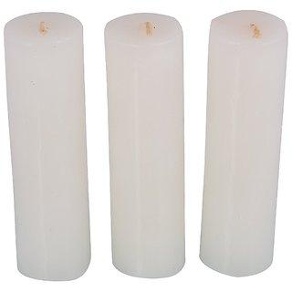 Atorakushon Smokeless Scented Pack of 12 White Tall Round pillar Candles for Diwali