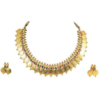 Traditional Gold Plate Red And Green Temple Coin Necklace Set With Earrings For Women