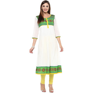 Prakhya Printed Women's Long Anarkali Cotton Kurta(PR003GREEN)