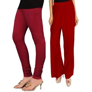 RamE-  Mahroon  colour plazzo ,palazzo pant  with black colour leggings for girls,ladies and women