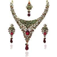 Kriaa Kundan Green  Red Austrian Stone Meenakari Kundan Gold Plated Necklace Set - 2103503