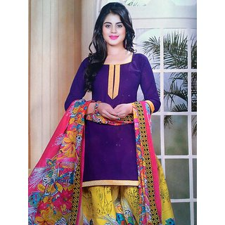Purple cotton patiala salwa suit