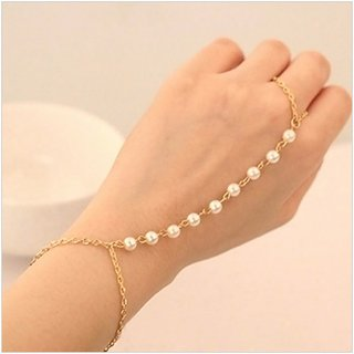 Buy Celebrity Stylish Women Girls Classic Pearl Ring Bangle Gold