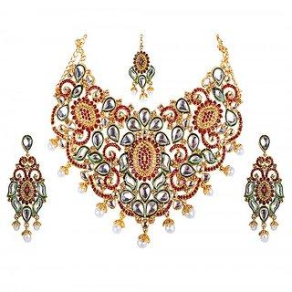 Kriaa Kundan Red Austrian Stone Green Meenakari Bridal Necklace Set - 2103201