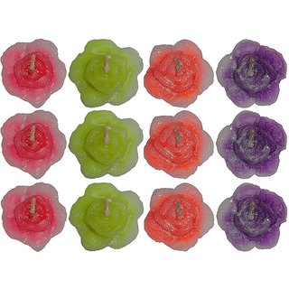 Atorakushon PACK OF 24 ROSE FLOWER FLOATING CANDLE FOR DIWALI BIRTHDAY PARTY