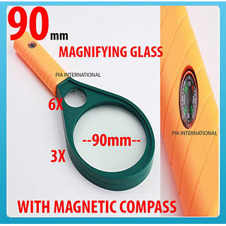 PTCMART 90mm MAGNIFYING GLASS 3X  6X