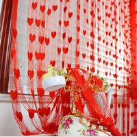 K Decor Red Polyester Doorpleated Stitch Curtain 7 Feet (Combo Of 2)