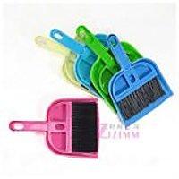 PinkGreen Plastic Mini Dustpan With Brush
