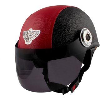 MPI Red/Black Leather Look Open Face Helmet For Moterbike Helmet for MEN