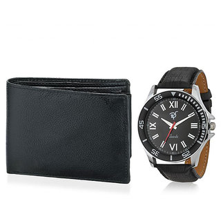 Rico Sordi Round Dial Black Leather Strap Mens Set Of Watch And Wallet