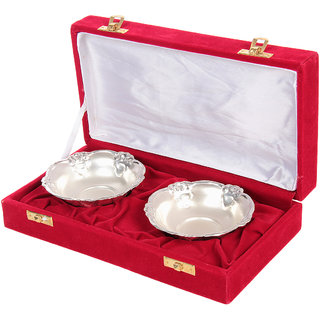 German Silver 2 Bowl Set With Velvet Gift Box
