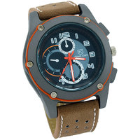Round Dial Brown Leather Strap Unisex Watch