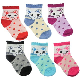 Set of 6 Pair cartoon kids socks shoe wear shocks for baby and infant (0-6 M)