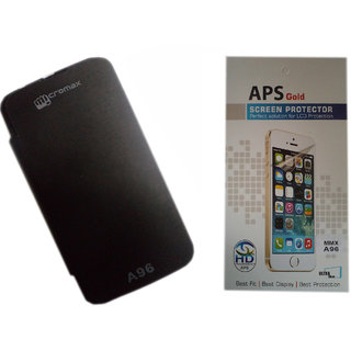 Flip Cover For Micromax Power A96 in  Black Colour + Clear Screen Guard