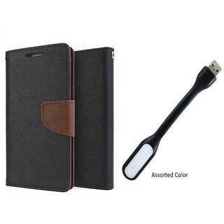 Micromax Bolt A069 Mercury Wallet Flip Cover Case (BROWN) With Usb Light