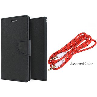 HTC 526  Mercury Wallet Flip Cover Case (BLACK) With 3.5mm Male To Male Aux Cable