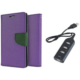 Micromax Canvas 2 A110  Mercury Wallet Flip Cover Case (PURPLE) With Usb hub