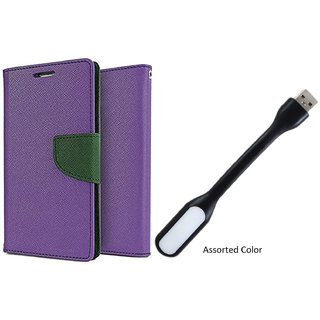 Sony Xperia Z5 Mercury Wallet Flip Cover Case (PURPLE) With Usb Light