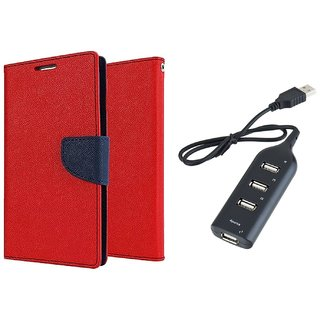 MICROMAX E311  Mercury Wallet Flip Cover Case (RED) With Usb hub