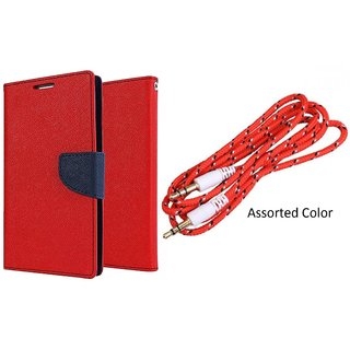 Micromax A102 Canvas Doodle 3 Mercury Wallet Flip Cover Case (RED) With 3.5mm Male To Male Aux Cable