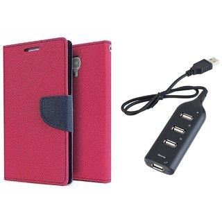 Samsung Galaxy On5 Mercury Wallet Flip Cover Case (PINK) With Usb hub