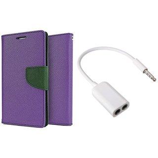 Samsung Galaxy S2  I9100  Mercury Wallet Flip Cover Case (PURPLE) With 3.5mm Jack Splitter