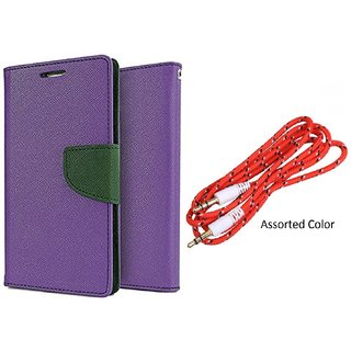 Samsung Galaxy A7 (2016) Mercury Wallet Flip Cover Case (PURPLE) With 3.5mm Male To Male Aux Cable