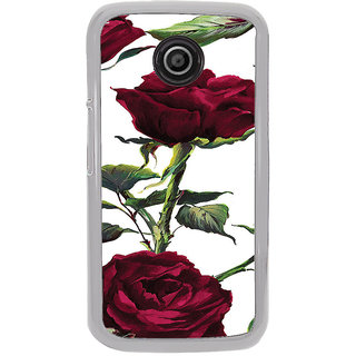 ifasho Animated Pattern colorful rose flower with leaves Back Case Cover for Moto E2