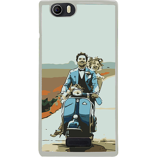 ifasho husband and wife happy drive in scooter Back Case Cover for Micromax Canvas Nitro2 E311