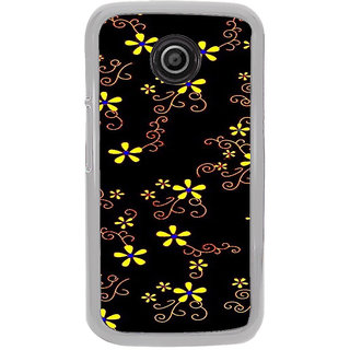 ifasho Animated Pattern colrful design flower with leaves Back Case Cover for Moto E2