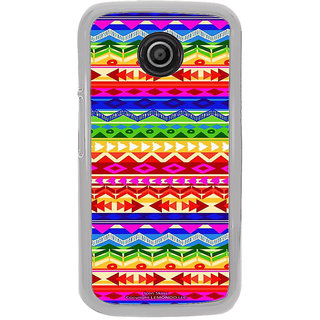 ifasho multi color Triangular and circle Pattern Back Case Cover for Moto E2