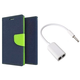 Micromax Canvas Knight 2 E471 Mercury Wallet Flip Cover Case (BLUE) With 3.5mm Jack Splitter