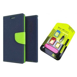 Asus Zenfone Selfie ZD551KL Mercury Wallet Flip Cover Case (BLUE) With Nano Sim Adapter