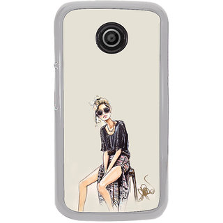 ifasho modern Girl painting Back Case Cover for Moto E2