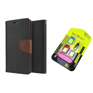 Lenovo A6000 Mercury Wallet Flip Cover Case (BROWN) With Nano Sim Adapter