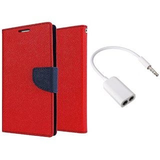 Sony Xperia E3 Mercury Wallet Flip Cover Case (RED) With 3.5mm Jack Splitter