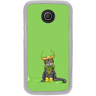 ifasho Animated Design cat with crown Back Case Cover for Moto E