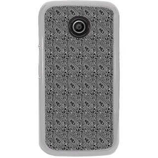 ifasho Animated Pattern design black and white flower in royal style Back Case Cover for Moto E